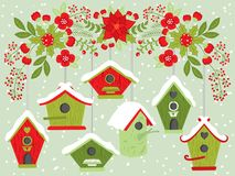 Vector Birdhouses Hanging from Floral Christmas Branch royalty free illustration