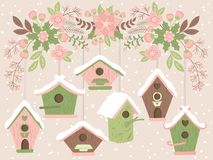 Vector Birdhouses Hanging from Floral Christmas Branch. Vector floral branch with pink poinsettia, berries and holly. Vector bird house. Christmas bouquets stock illustration