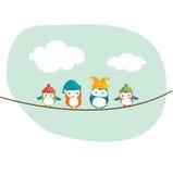 Vector birds. Cute vector birds Christmas card Royalty Free Stock Photography