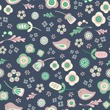 Vector birds and floral seamless repeat pattern royalty free illustration