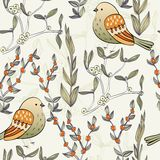 Vector birds. Hand drawn illustration with cartoon birds. floral background Stock Photography