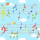 Vector birds and music. Bacjground with clouds on blue Royalty Free Stock Image