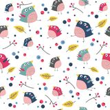 Vector birds and plants seamless pattern Royalty Free Stock Photos