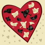 Vector birds set with ornate patterns. Set of black and white birds with ornate pattern in red heart Stock Photos