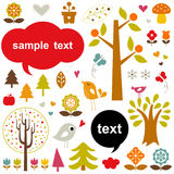 Vector birds and trees set Royalty Free Stock Photography