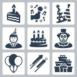 Vector birhday and party icons Royalty Free Stock Photos
