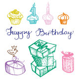 Vector birthday attributes Royalty Free Stock Photos