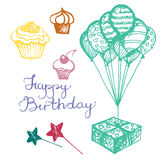 Vector birthday attributes Royalty Free Stock Image