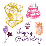 Vector birthday attributes. Set of sketches Stock Image