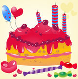Vector birthday cake Royalty Free Stock Photos