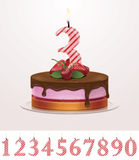 Vector birthday cake with candle Royalty Free Stock Image