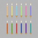 Vector birthday cake candle icon set. Vector set of birthday cake candle icons. Burning candles realistic 3d illustration Royalty Free Stock Photo