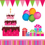 Vector of the birthday cake, gifts Royalty Free Stock Image