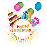 Vector of the birthday cake, gifts Royalty Free Stock Images