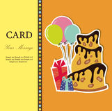 Vector birthday cake. Greeting Card. Vector illustration Royalty Free Stock Images