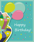 Vector birthday cake. Greeting Card. Vector illustration Stock Photo