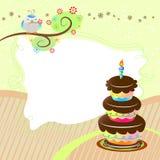 Vector birthday card. Birthday card with cake and cute bird Stock Photos