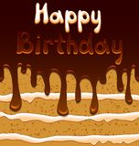 Vector birthday card on the background with sweet. Vector birthday card on the background with cartoon style sweet biscuit cake in mouthwatering chocolate glaze vector illustration