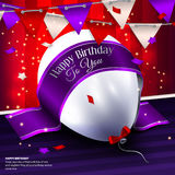 Vector birthday card with balloon, bunting flags Stock Images