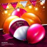 Vector birthday card with balloon, bunting flags Stock Image