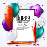 Vector birthday card with balloons and confetti. Royalty Free Stock Image