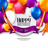 Vector birthday card with balloons and confetti. Stock Images