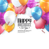Vector birthday card with balloons and confetti. Stock Image