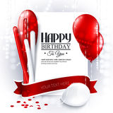 Vector birthday card with balloons and confetti. Royalty Free Stock Photos