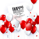 Vector birthday card with balloons and confetti. Stock Photography