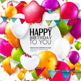 Vector birthday card with balloons, confetti and Stock Images
