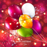 Vector birthday card with balloons and lights. Royalty Free Stock Photos