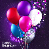 Vector birthday card with balloons and stars on Royalty Free Stock Images