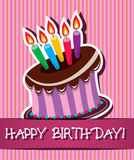 vector birthday card with cake and candles Stock Photos