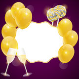 Vector birthday card with champagne glasses. Stock Images