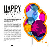 Vector birthday card with color balloons, flowers Royalty Free Stock Images