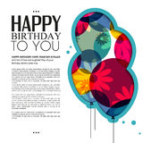 Vector birthday card with color balloons, flowers Stock Photos