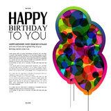 Vector birthday card with color balloons and text. Royalty Free Stock Image