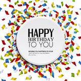 Vector birthday card with confetti and birthday te Royalty Free Stock Photography