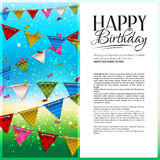 Vector birthday card with confetti and bunting Royalty Free Stock Photography