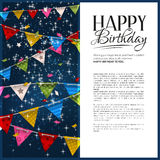 Vector birthday card with confetti and bunting Stock Photos