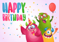 Vector birthday card with cute funny monsters in cartoon style. Design for poster or print decoration Royalty Free Stock Photo
