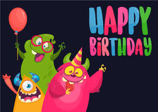 Vector birthday card with cute funny monsters in cartoon style.. Design for poster or print decoration Stock Photo