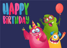 Vector birthday card with cute funny monsters in cartoon style. Design for poster or print decoration Stock Photos