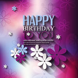 Vector birthday card with flowers on colorful Stock Images