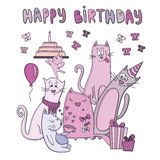 Vector birthday card with funny cats Royalty Free Stock Photos