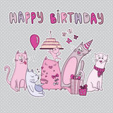 Vector birthday card with funny cats Stock Photography