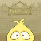 Vector Birthday card with funny chick Royalty Free Stock Image