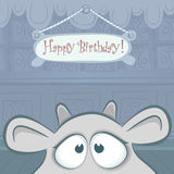 Vector Birthday card with funny cow. Royalty Free Stock Photo