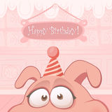 Vector Birthday card with funny pig Stock Photography