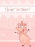 Vector Birthday card with funny pig Stock Photo